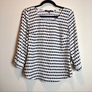 White and Black Printed Blouse